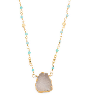 14k Gold Plated Druzy Amazonite Necklace