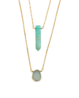 14k Gold Plated Druzy Amazonite Set Of 2 Necklaces
