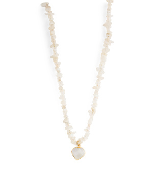 14k Gold Plated Moonstone Heart Beaded Necklace