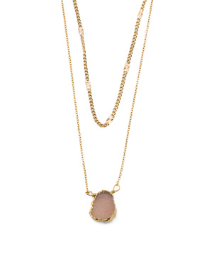 14k Gold Plated Pink Druzy Double Chain Necklace