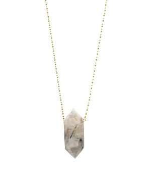14k Gold Plated Tourmalinated Quartz Beaded Chain Necklace