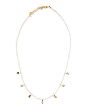14k Gold Plated Gemstone Beaded Necklace