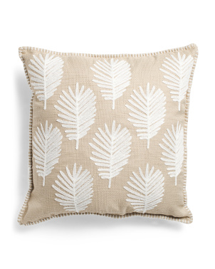 22x22 Embroidered Palm Leaf Pillow