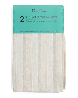 54x96 Set Of 2 Metallic Striped Linen Look Curtains