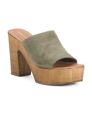 Made In Italy Leather Wooden Wedge Sandals
