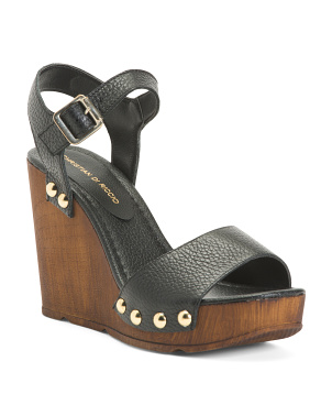 Made In Italy Leather Wood Wedges