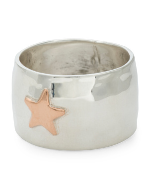 Made In Mexico Sterling Silver Copper Star Wide Band Ring