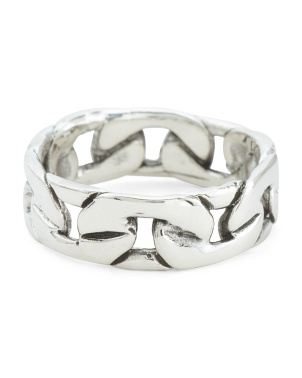 Made In Mexico Sterling Silver Curb Chain Ring