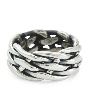 Made In Mexico Sterling Silver Woven Chain Ring