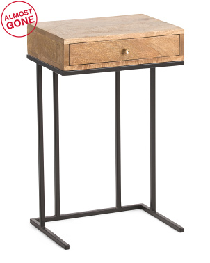 Mango Wood Accent Table With Drawer