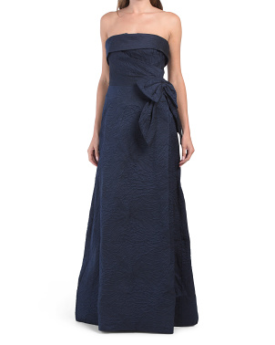 Jacquard Cuff Bodice Bow Waist Gown