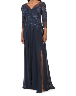V-neck Lace Bodice Chiffon Gown