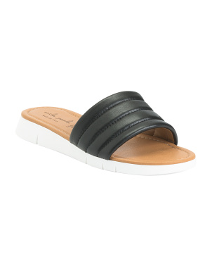 Made In Italy Leather Slide Sandals