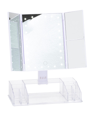 Tri-fold Light Up Vanity Mirror With Makeup Organizer