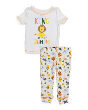 Infant Boy 2pc Safari Hacci Sleep Set