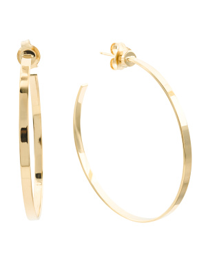 14k Gold Plated Sterling Silver 50mm Kiernan Hoop Earrings