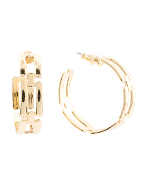 Handmade In Usa 14k Gold Plated Chain Link Hoop Earrings
