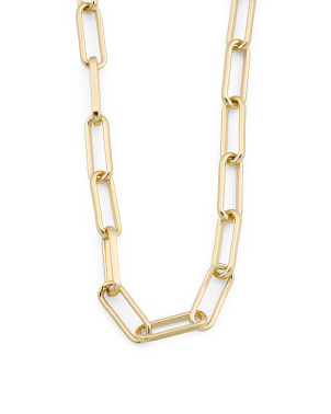 Handmade In Usa 14k Gold Plated Link Chain Necklace