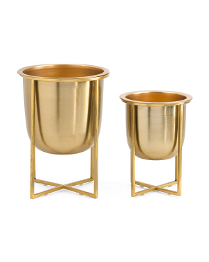 Set Of 2 Metal Planters On Stand