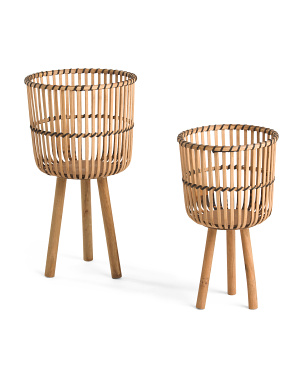 Set Of 2 Wicker Footed Planters