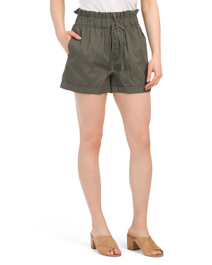 Juniors Paperbag Cinched Waist Shorts