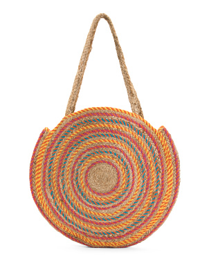 Oversized Woven Jute Circle Tote