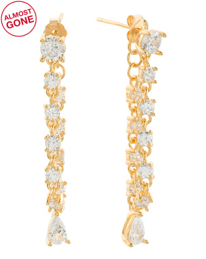 Made In Usa 18k Gold Plated Sterling Silver Cz Earrings