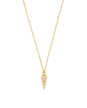 Made In Usa 18k Gold Plated Sterling Silver Cz Necklace