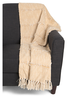 Light Weight Frayed Stripe Throw