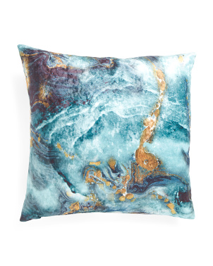22x22 Printed Velvet Marble Pillow
