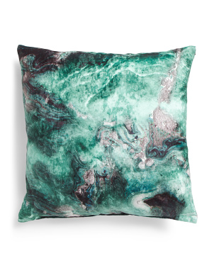 Made In Usa 22x22 Printed Velvet Marble Pillow