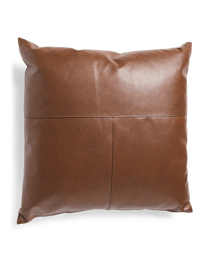 Made In Usa 22x22 Linen Look And Faux Leather Pillow