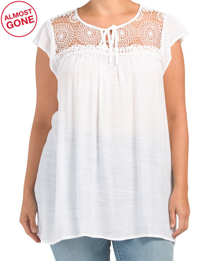 Plus Flutter Sleeve Top With Lace Bodice