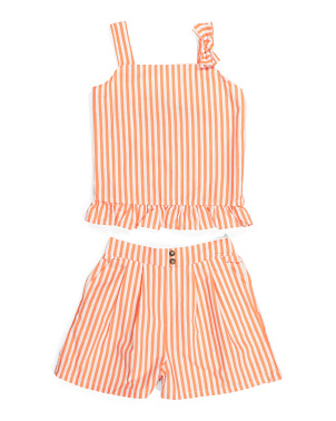 Big Girls Striped Bow Short Set