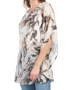 Rounded Marble V-neck Poncho