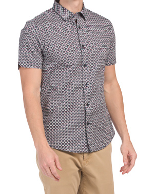 Geo Print Button Down Shirt