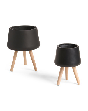 Set Of 2 Planters With Wood Legs