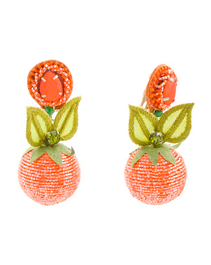 Handmade In India L Orange Earrings