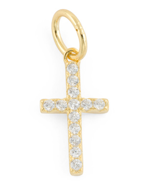 14k Gold Plated Sterling Silver Cz Cross Charm