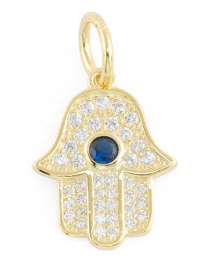 14k Gold Plated Sterling Silver Cz Hamsa Charm