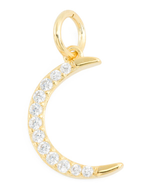 14k Gold Plated Sterling Silver Cz Moon Charm