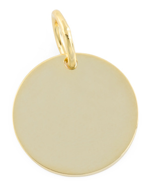 14k Gold Plated Sterling Silver Silver Disc Charm