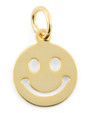 14k Gold Plated Sterling Silver Silver Smiley Charm