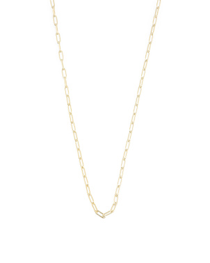 14k Gold Plated Sterling Silver Paperclip Chain Necklace