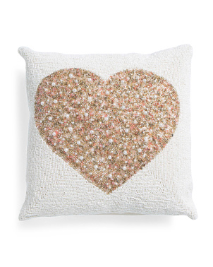 16x16 Fully Beaded Heart Pillow