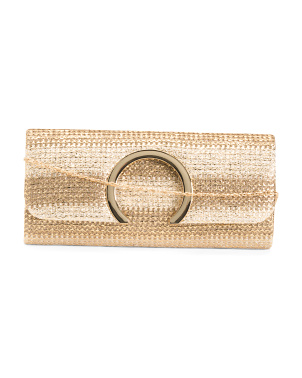 Metallic Clutch With Chain Strap