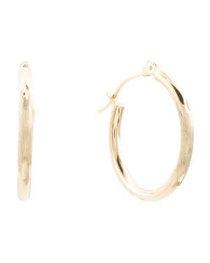 Made In Usa 14kt Gold Bamboo Cut 20 Mm Hoop Earrings
