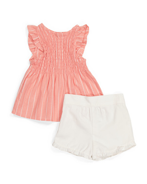 Toddler Girls 2pc Flutter Sleeve Short Set