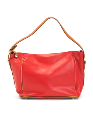 Made In Italy Leather Shoulder Bag With Strap