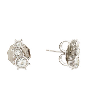 Made In Thailand Sterling Silver Topaz Ear Crawler Earrings